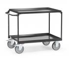 Chariot à plateaux  Tôlés avec rebord - Gris - 2 plateaux - Poussée horizontale