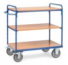 Chariot haut à plateaux  Bleu - Charge 600 kg - 3 plateaux