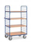 Chariot haut à plateaux  Bleu - Charge 600 kg - 4 plateaux - Ridelles en treillis