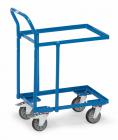 Rouleur à plateaux  Charge 250kg - Bleu - Dossier de poussée - Armarture ouverte