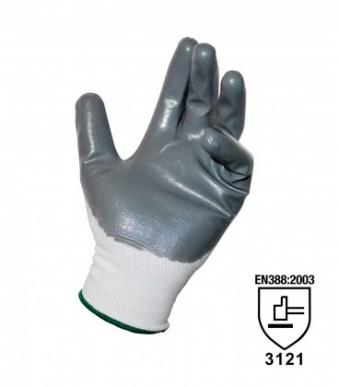 1 Paar durchgehende Garnhandschuhe mit Anti-Abrieb-Nitril-Beschichtung