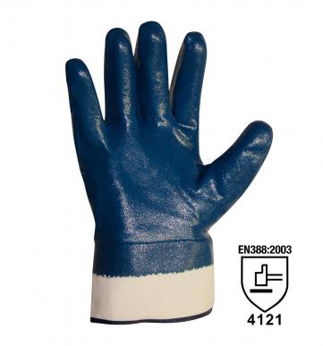 1 Paar gelbe NBR-Handschuhe mit Manschette und belüfteter Rückseite