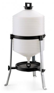 2 Abreuvoirs en polypropylène à niveau constant, type 30 litres pour poulets / poules / dindes / gibier. Capacité effective: environ 24 litres