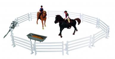 2 chevaux, cavaliers et accessoires