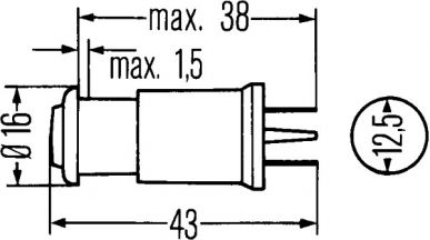 2AA 001 204-031 Kontrollleuchte - 12/24V - J - geklemmt - Lichtscheibenfarbe: grün