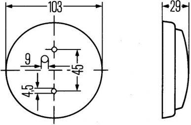 2JA 003 231-001 Innenraumleuchte, Innenraumlicht mit Schalter zum Anbau, Ø 103 mm