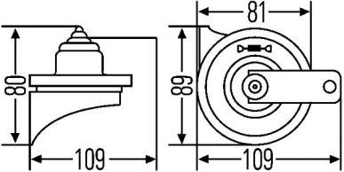 3FG 940 800-817 Fanfare - TE16 - 12V - 110dB(A) - Frequenzbereich: 400Hz - Tiefton - elektrisch - Gehäusefarbe: schwarz - Flachsteckanschluss