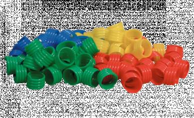 Bague à poule 18mm bleu, rouge, vert, jaune (80 pcs.)