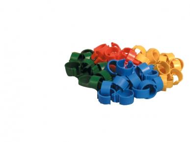 Bague volaille à clip 16mm bleu, jaune, vert, rouge