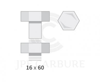 Boulon pour dent de herse 16 x 60 t.hexagonale