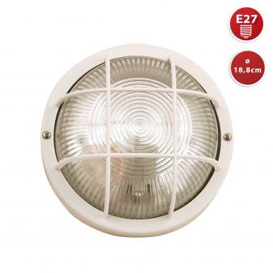 BUBBLE: hublot rond en verre et plastique.  E27 max 60W - Blanc