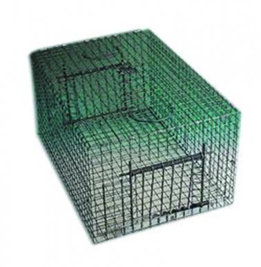 Cage multiprises pigeons 2 entrées, maille 25x25 galva+ vert, fils inox