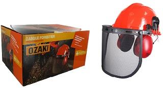 Casque forestier complet comprenant un casque, un anti bruit 25db, une visière grillagée et une paire de lunettes
