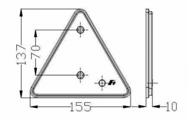 Catadioptre triangulaire avec trous (blister 2 pces)