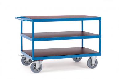 Chariot à plateaux  Bleu - Charge 1200 kg -  3 plateaux
