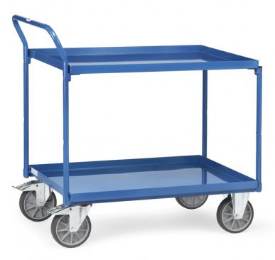 Chariot à plateaux  Rôlés avec rebord - Bleu - 2 plateaux - Poussée verticale