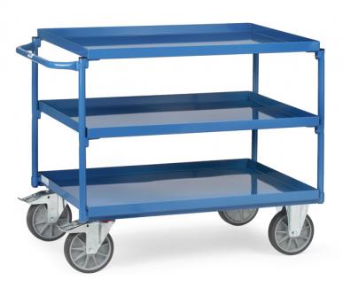 Chariot à plateaux Tôlés avec rebord - Bleu - 3 plateaux - Poussée horizontale