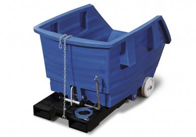 Benne basculante bleue de 1000 litres en polyéthylène, avec fourreaux