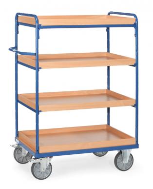 Chariot haut à caissettes  Bleu - Charge 500 kg - 4 caissettes