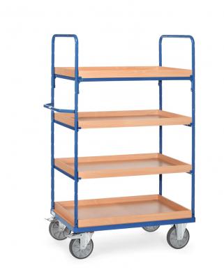 Etagenwagen 600 kg, mit 4 Kästen aus Holz, Höhe 1800 mm