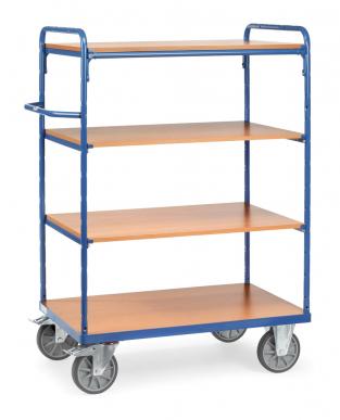 Chariot haut à plateaux  Bleu - Charge 600 kg - 4 plateaux