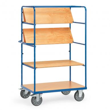 Chariot haut à plateaux  Bleu - Charge 600 kg - 3 plateaux rabattables