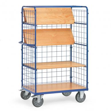 Chariot haut à plateaux  Bleu - Charge 600 kg - 3 plateaux rabattables - Ridelles
