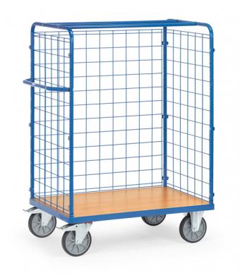 Chariot pour colis  Charge 600 kg - 3 ridelles en treillis mécanique