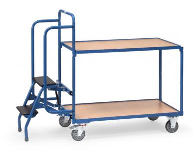 Chariot préparateur de commandes  Charge 250 kg - 2 plateaux - 1 marchepied