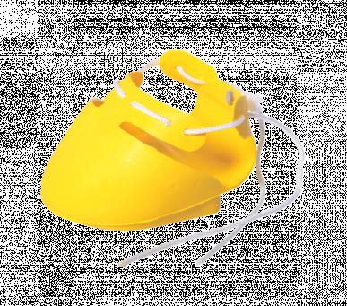 Chaussure jaune pour sabot gauche avec talonnette