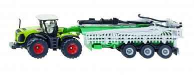 Tracteur Claas Xerion avec remorque épandeur Siku 1:87