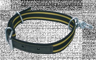 Collier seul doublé cuir noir/jaune pour veau 85cmx4cm