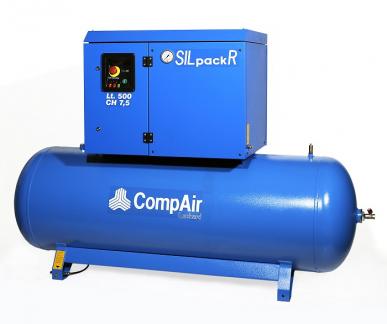 Compresseur à piston lubrifié et insonorisé sur réservoir fixe