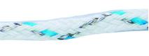 Cordon tressé 4mm avec 6 inox 0,2 bleu et blanc