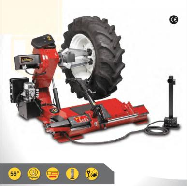 Démonte-pneus automatique pour camions, bus, tracteurs et engins de terrassement spéciaux.