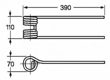 Anpassbarer Zettwenderzinken KUHN 57609000