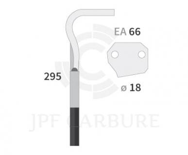 Dent de herse rotative type Agram Cimos EA 66 gauche réf d'origine 472090040