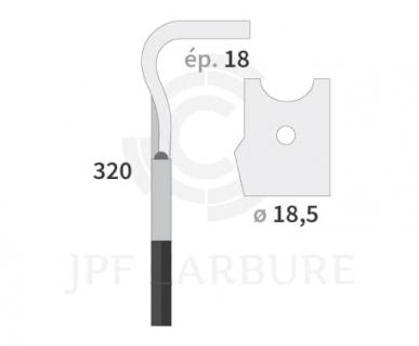 Dent de herse rotative type KV Rapid Elit droite 90mm réf d'origine 44000150
