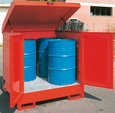 Außenlagerraum aus lackiertem Stahl zur Lagerung von 1-4 Fässern mit 208 l Öl, Fett