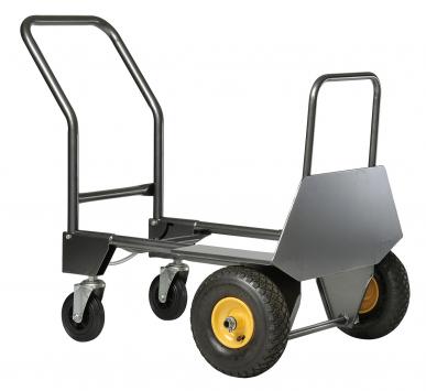 Diable transformable en chariot Rollax 950 G Nouvelle pelle fixe 187 x 598 mm. Pelle rabattable 420 x 326 mm. Nouveau : avec protections de roues