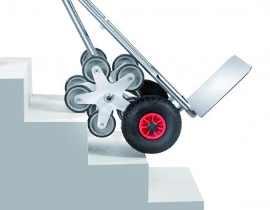 Diable escalier  Aluminium - Charge 200kg - 5 roues étoile - Bavette large