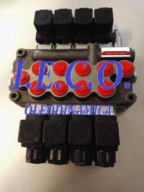 Distributeur hydraulique à commande électrique 45 Litres, 250 Bar, 12 V, 4 leviers