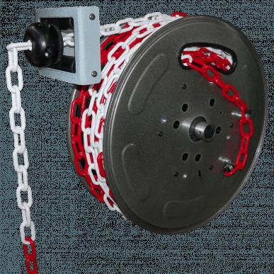 Enrouleur à rappel automatique de signalisation - 20 mètres de chaîne plastique rouge/blanche
