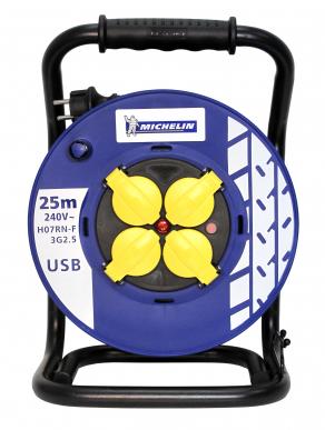 Enrouleur Pro & Garage Michelin 25 mètres HO7RNF 3G2,5mm² avec prise USB