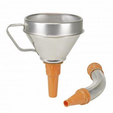 Kombitrichter-Stahlblech verzinkt, flexibler Metallauslauf, Ø 160 mm, 1,3L, Sieb