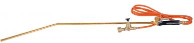 Epilateur autonome à gaz comprenant un manche bimatière à gachette, de 1,50m de tuyau, d'une lance d'épilation courbe de 86 cm et d'un robinet pour adapter une cartouche de gaz