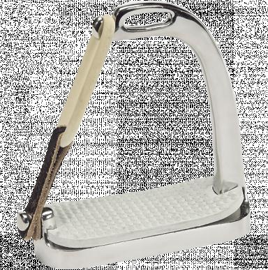 Etrier de sécurité, 12 cm, pair, acier inoxydable, anneux caoutchouc et cuir pour que le pied ne reste pas coincé dans l'étrier en cas de chute, semelle, (1 paire)