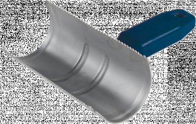 Etrille, demi-ronde, poignée plastique robuste, 2 rangées de dents