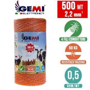 CONDUCTEUR DE FIL CARRÉ pour clôtures électriques 500 MT 2.2mm