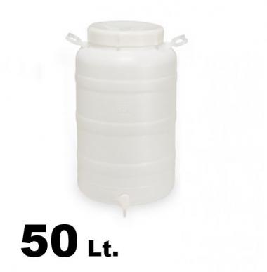 Fût en plastique avec prédisposition robinet + robinet 50lt.